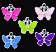 10 Mixed Coloured Silver Plated Enamel Butterfly Charms or Pendants 19x17mm